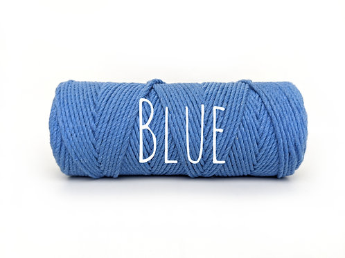 Twisted 3ply Cotton Rope - Blue 2mm