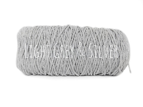 Cotton Yarn with Metallic Thread -Light Grey/Silver