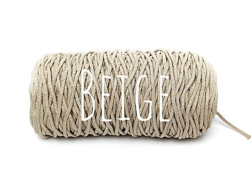 Cotton yarn - Beige - 3mm for Macrame / Crochet / Knitting