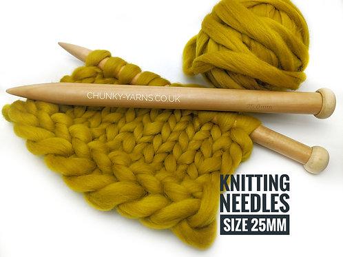 Wooden Knitting Needles - 25mm