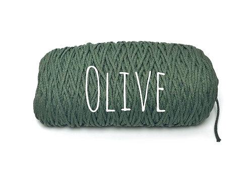 Cotton yarn - Olive 3mm for Macrame / Crochet / Knitting