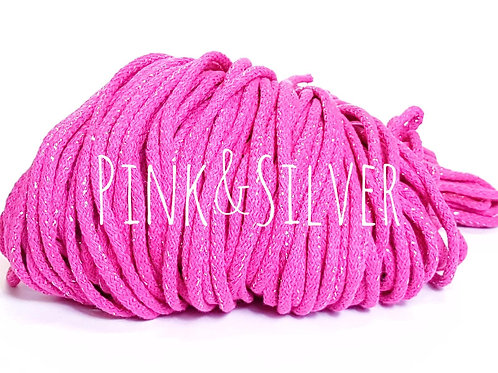 Cotton yarn with Metallic Thread - Bright Pink/Silver 5mm