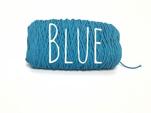 Cotton yarn - Blue - 3mm for Macrame / Crochet / Knitting