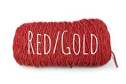 Cotton Yarn with Metallic Thread - Red & Gold 3mm
