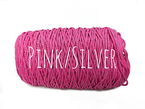 Cotton Yarn with Metallic Thread - Pink & Silver 3mm for Macrame / Crochet