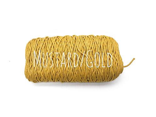 Cotton Yarn with Metallic Thread - Mustard & Gold 3mm for Macrame / Crochet / Kn
