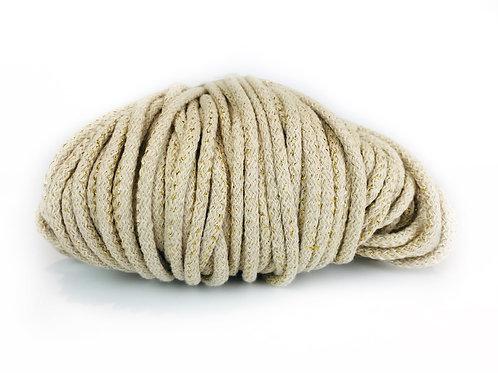Chunky Cotton yarn with Metallic Thread - Ecru/Gold 5mm