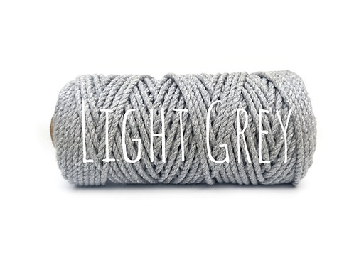 Twisted 3ply Cotton Yarn - Light Grey 3mm