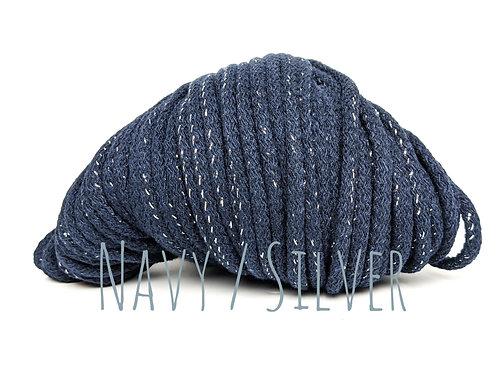 Chunky Cotton yarn with Metallic Thread - Navy/Silver 5mm