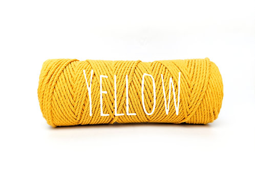 Twisted 3ply Cotton Rope - Yellow 2mm