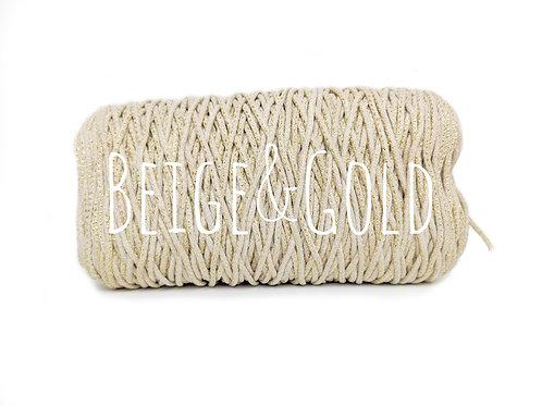 Cotton Yarn with Metallic Thread -Beige/Gold