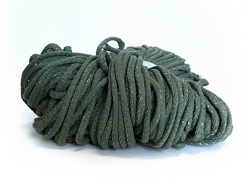 Chunky Cotton Cord with Metallic Thread - Olive/Silver 5mm
