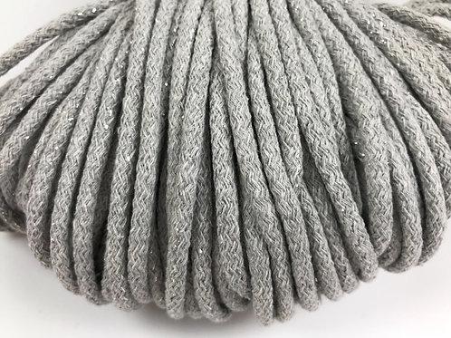 Cotton yarn with Metallic Thread - Light Grey/Silver 5mm