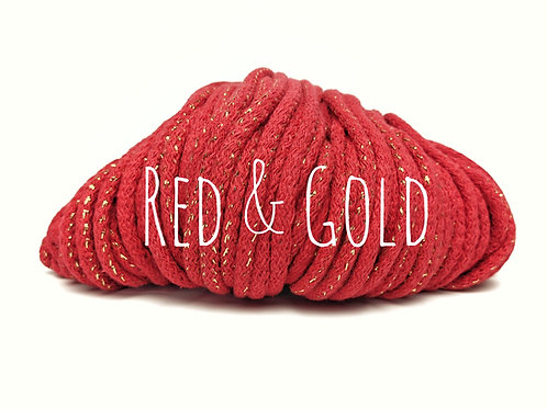 Cotton yarn with Metallic Thread - Red & Gold 5mm