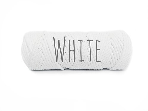 Twisted 3ply Cotton Yarn - White 3mm
