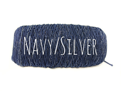 Cotton Yarn with Metallic Thread - Navy & Silver 3mm for Macrame / Crochet