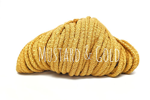 Cotton yarn with Metallic Thread - Mustard & Gold 5mm