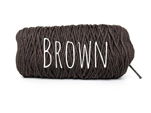 Cotton yarn - Brown - 3mm for Macrame / Crochet / Knitting