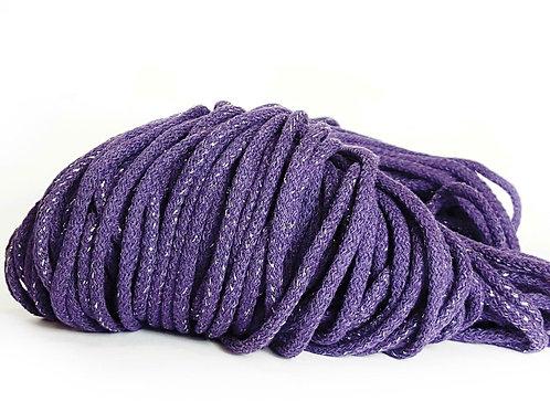 Chunky Cotton Cord with Metallic Thread - Purple/Silver 5mm