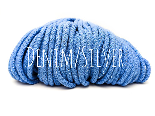 Chunky Cotton yarn with Metallic Thread - Denim/Silver 5mm