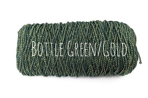 Cotton Yarn with Metallic Thread - Bottle Green & Gold 3mm