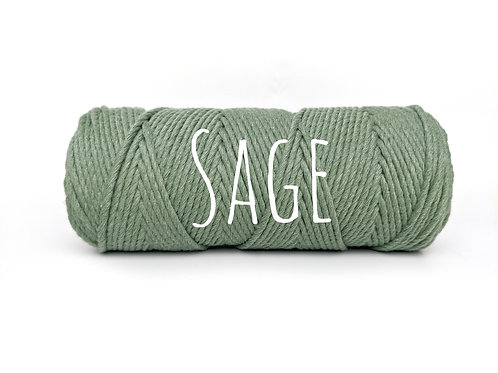 Twisted 3ply Cotton Rope - Sage 2mm