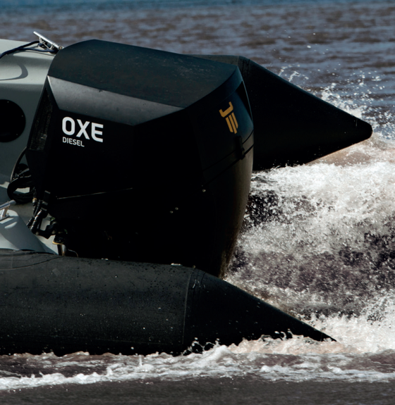 Why not consider a 200hp Diesel Outboard tender ?