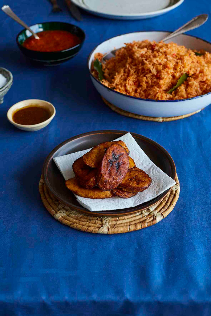 Fried plantain and jollof rice