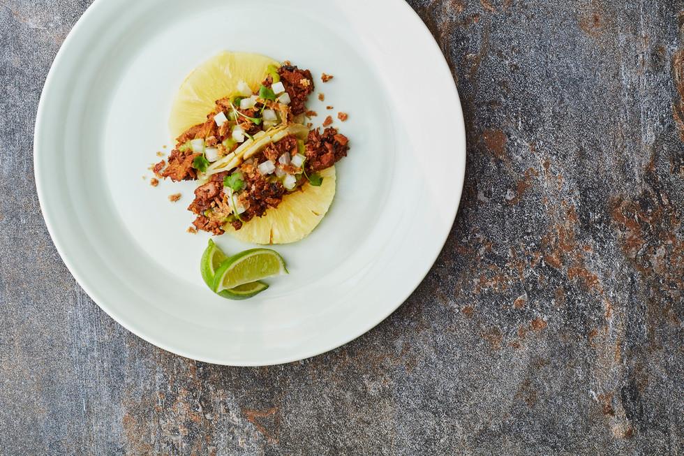 Barbecued duck, white onion, coriander avocado salsa, pineapple tortilla, crispy duck skin