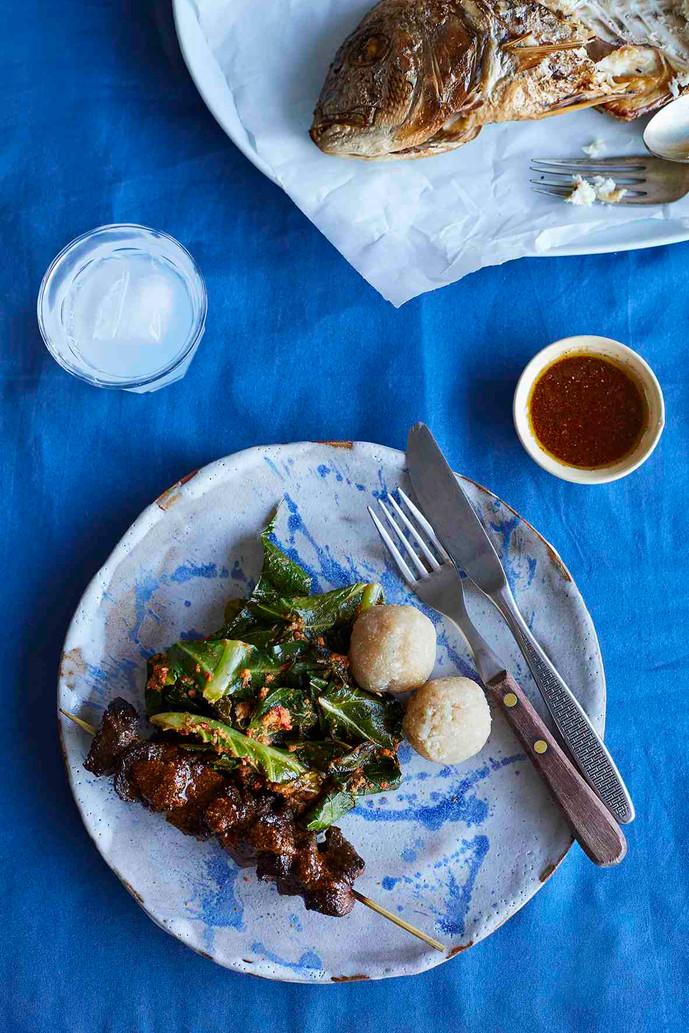 Suya kebab, efo stew and cassava balls