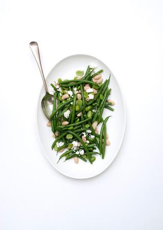 Bean, feta and mint salad