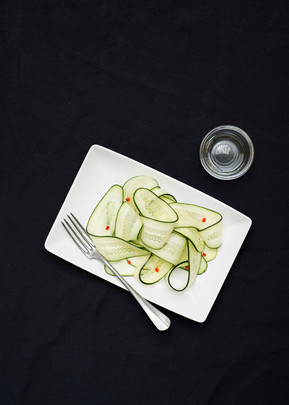 Shaved cucumber and chilli salad