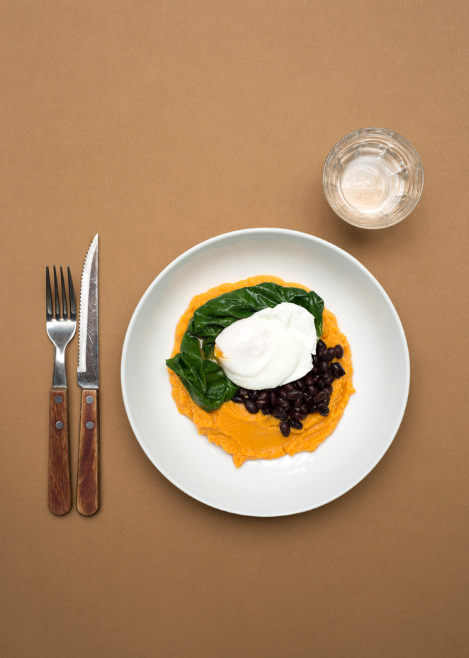 Sweet potato mash with swiss chard, black beans and poached egg