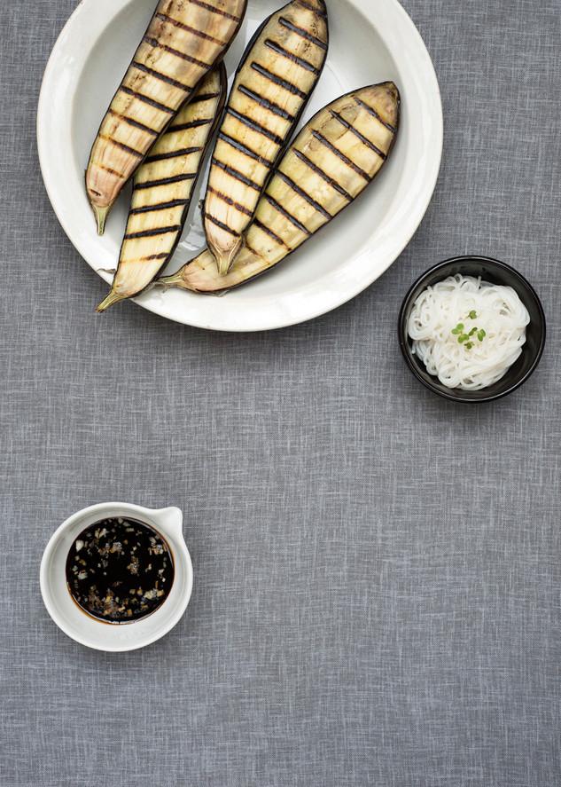 Griddled aubergines, soy garlic dressing, rice noodles