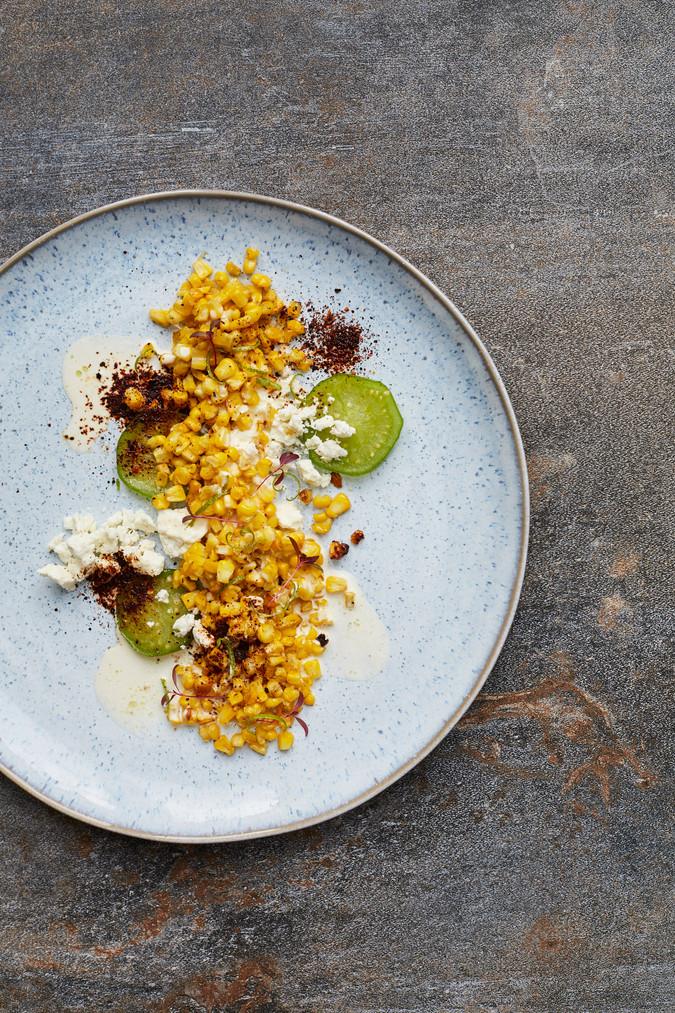Charred corn, tomatillos, garlic crema, queso fresco, ancho chilli, crispy corn silk
