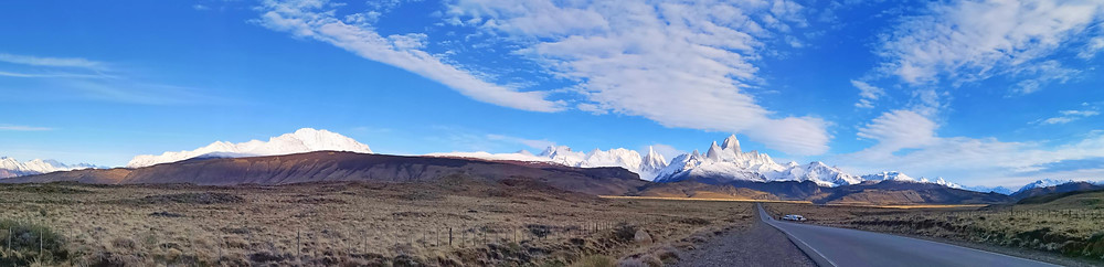 panorama of desert landscape with mountains in distance