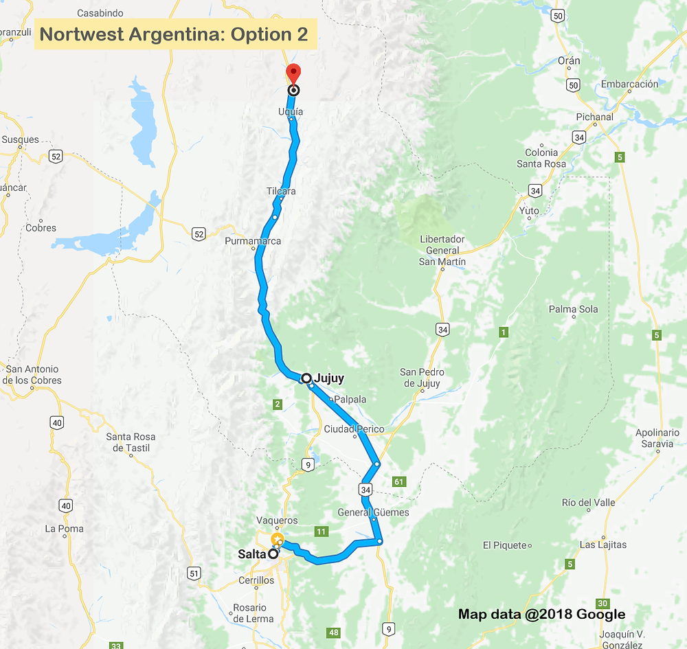 Map of route through Jujuy province