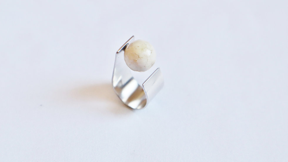 fossil coral ring  S