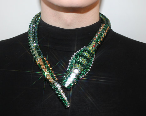 Emerald Green Rhinestone Crystal Snake Necklace / Brooch