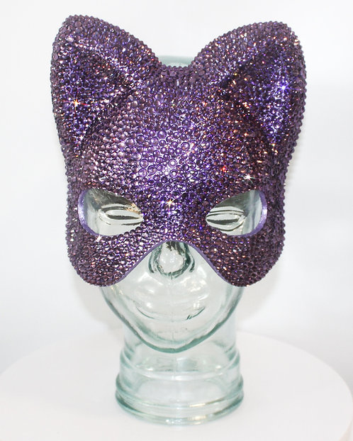 Purple Rhinestone Cat / Catwoman / Bear Crystal Rhinestone Mask