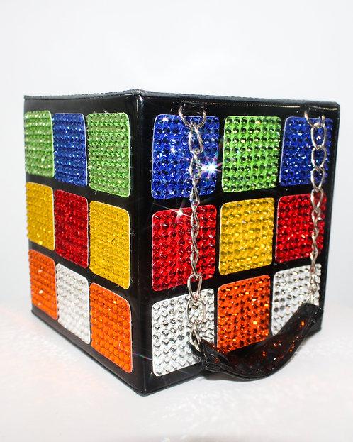 Crystal Rhinestone Rubik'S Cube Purse / Handbag