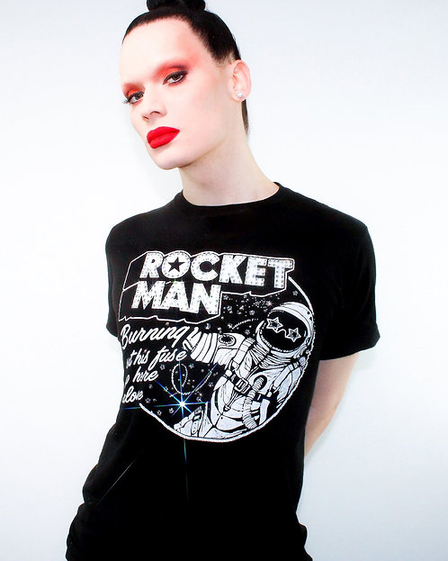Elton John - Rocket Man Rhinestoned T-Shirt