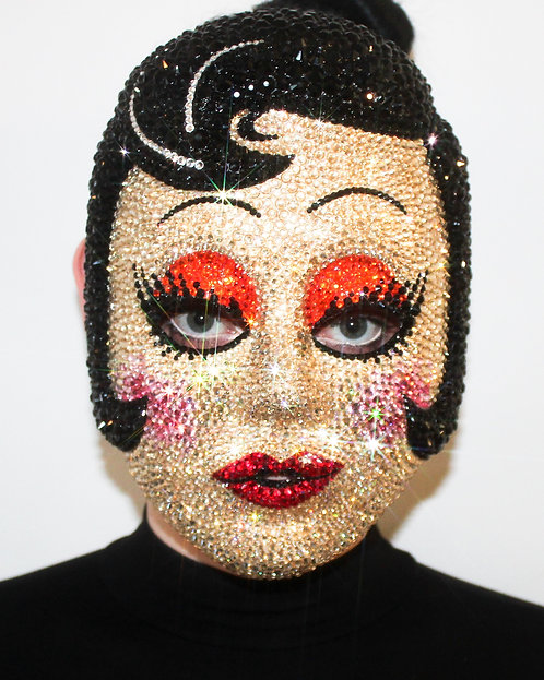 Rhinestone Crystal Pinup Girl Half Mask - The Strangers