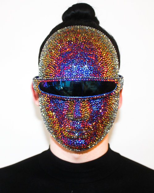 Color Changing Rhinestone Volcano Mask