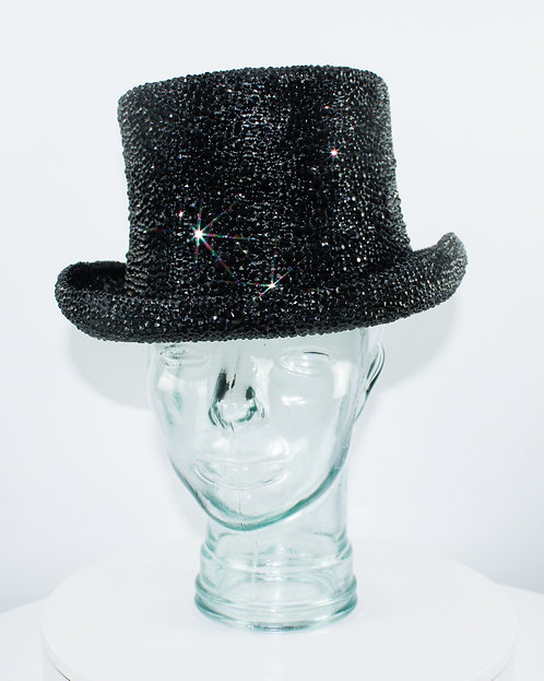 Black Rhinestone Crystal Top Hat