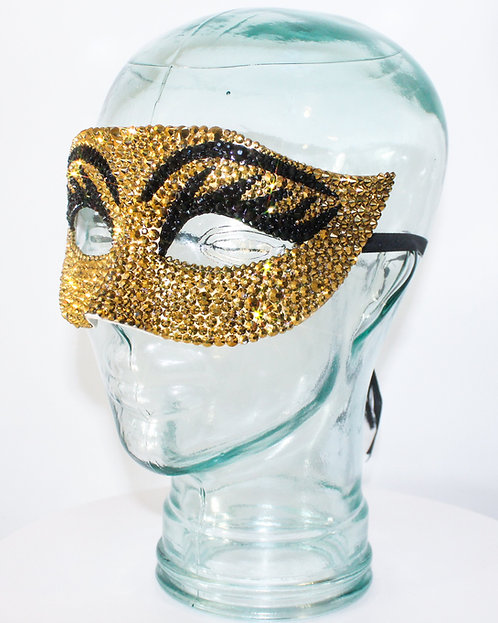 Gold / Black Crystal Rhinestone Cleopatra Eyelash Mask