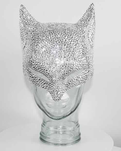 Rhinestoned White Crystal Fox Mask