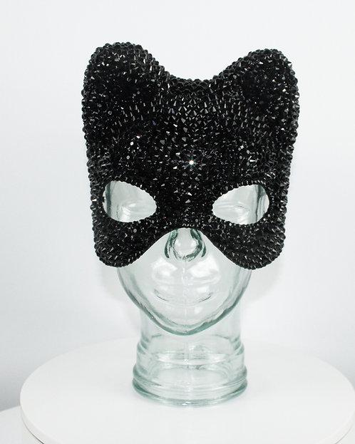 Black Rhinestone Cat / Catwoman / Bear Crystal Rhinestone Mask