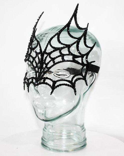 Black Rhinestone Spiderweb Mask