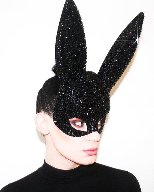 Black Rhinestone Bunny Ear Crystal Rhinestone Mask